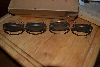 4 Vintage Swing handle Style Drawer Pulls Aged Brass Color Furniture Cabinets