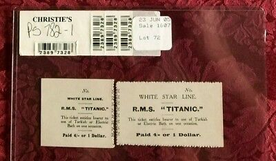 RMS Titanic - Orig Turkish Bath Ticket & Stub from Guernsey's & Christie Auction