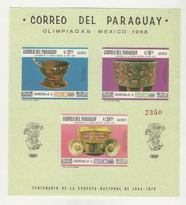 Paraguay, Postage Stamp, #1069a Mint NH Sheet, 1967 Olympics
