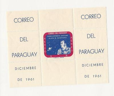 Paraguay, Postage Stamp, #616a Mint NH Sheet, 1961 Space, Astronaut Shepard