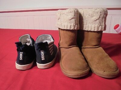 Next two pair of girls suede boots bundle size 7