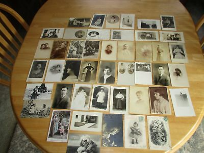 VINTAGE Early 1900s Antique REAL PHOTO POSTCARD LOT of 45 Black White RPPC