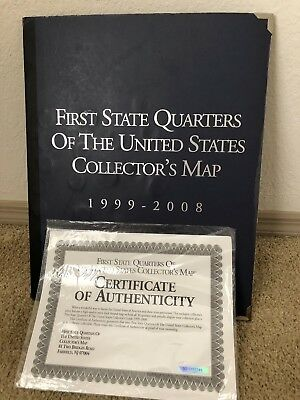 FIRST STATE QUARTERS ALL 50 COMPLETE SET COLLECTION w/ALBUM MAP SERIES 1999-2008