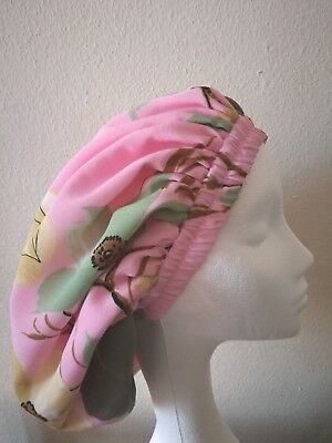 Handmade Pink and Green Floral Lined Sleep/Lounge Caps