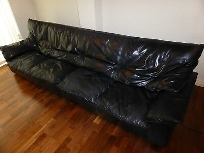 1970s mid century stunning huge black vintage sofa Harrods/Italian leather