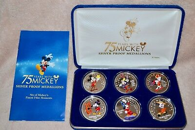 75 Years With Mickey .999 Fine Silver Proof 6 Medallions W/ Original Case