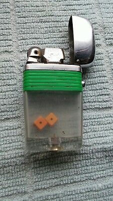 Vintage Green Band Scripto Vu Lighter With two Dice