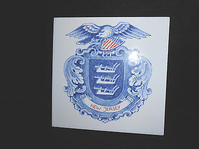 "Vintage Hand Painted Tile 5 1/8"" Holland Blue Red New Jersey"