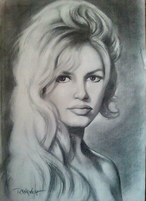 Brigitte Bardot, original charcoal drawing.