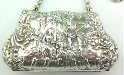 Antique Late Victorian Solid Silver Purse Chester 1899