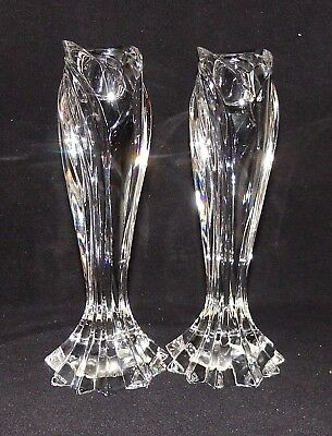 2 Genuine Lenox Glass Tall Candle Holders Brilliant Crystal Arctic Bloom Pattern