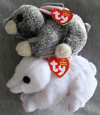 "Smokey & Cotton - SET of 2 - TY Beanie Baby 6"" Easter Bunny - NEW with MINT TAGS"