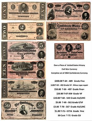 VTG 1864 Confederate States of America COMPLETE SET OF NOTES 9pcs 50 Cent -$500