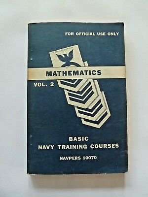 Navy Training Course Book NAVPERS 10070: MATHEMATICS VOL 2 Manual 1949