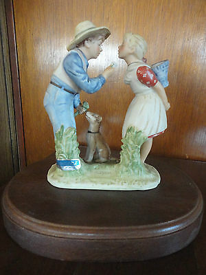 """GORHAM Norman Rockwells Beguiling Buttercup Statue With Wood Base 6 1/2"""" Tall"""