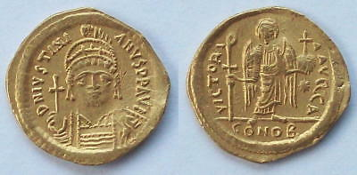 Byzantine Coin: JUSTINIAN I gold solidus, 527-565AD