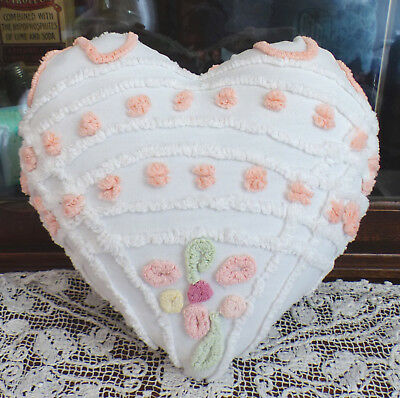 Vintage Chenille Bedspread Heart Pillow Flowers Valentine B