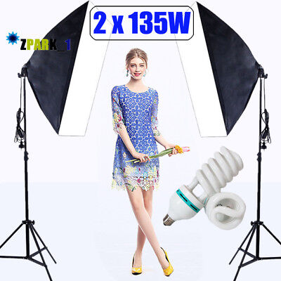 Photography Studio Softbox Continuous Lamp Lighting 2x135W Light Stand Kit Set