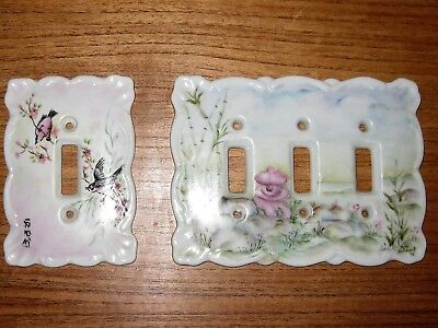 Vintage Porcelain Ceramic Switch Plate Electric Outlet Covers Painted by Artist
