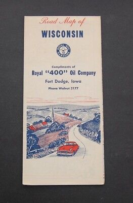 """Vintage Royal """"400"""" Oil Company Fort Dodge Iowa Road Map of Wisconsin"""
