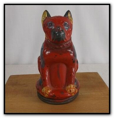 VINTAGE 1930's VICTORY GLASS BULLDOG CANDY CONTAINER W ORIGINAL TIN CAP TOY DOG