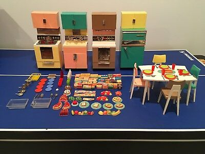 Vintage Collectible Reading Deluxe Barbie Kitchen Set With Over 100