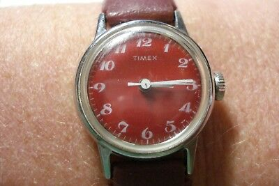 Vintage Mod Timex Red Dial Gold Toned Mechanical Wind Up Wrist Watch Running!
