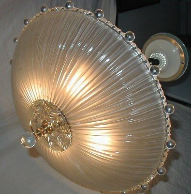 Vtg Art Deco Antique Berwick Bubble Glass Shade Chandelier Ceiling Light Fixture