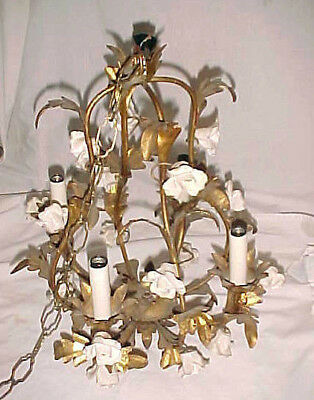 Vintage Italian Tole Gold CHANDELIER Porcelain ROSES  Hollywood Regency Antique