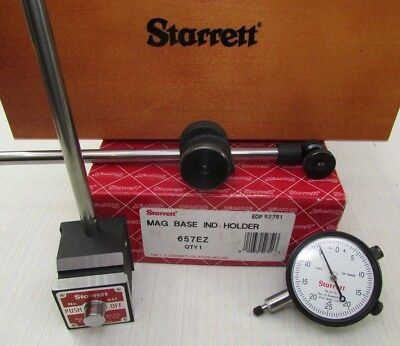 STARRETT 657 EZ Magnetic Base With Dial Indicator - Wood Case & box; Machinist