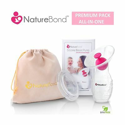 NatureBond Silicone Manual Breast Pump Breastfeeding Milk Saver Suction | All...