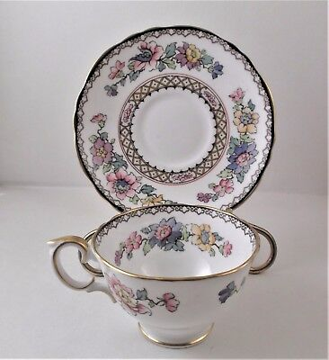 Royal staffordshire cup & saucer floral with gold trim EUC