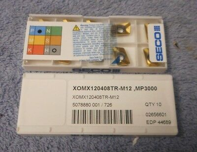 Seco    Carbide Inserts    Xomx 120408 Tr-M12   Pack Of 10   Grade  Mp3000