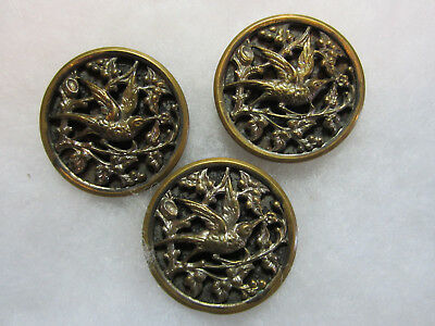 Set Of 3 French Victorian Metal Bird Picture Buttons/ Paris Backs