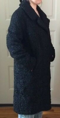 Persian Curly Lambs Wool Vintage Long Fur Coat,Lined, Women's,Size M/L,Unbranded
