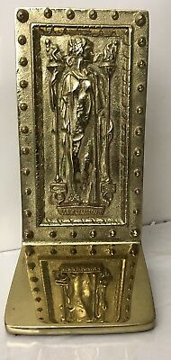 VA.Metal crafters Heavy Brass Bookend DOORS Of THE LIBRARY OF CONGRESS 1984