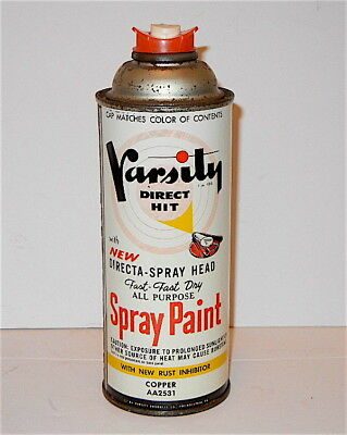 VINTAGE 1950's VARSITY DIRECT HIT COPPER COLOR SPRAY PAINT CAN