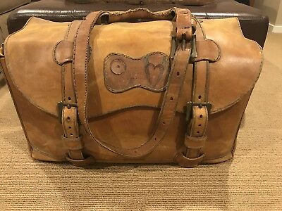 Antique Vintage Leather Hand Made Messenger Bag 100 Years Old