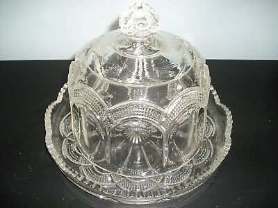 Vintage Pressed Glass Round Covered Butter Cheese Dish w/Domed Lid.