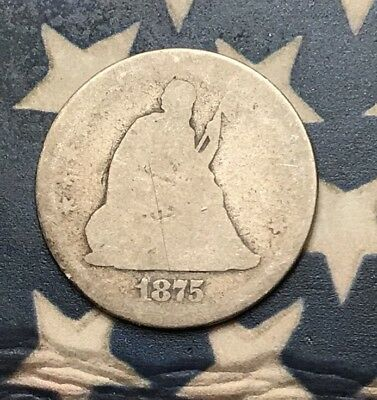 1875 25C Seated Liberty Quarter 90% Silver Vintage US Coin #ET9 Clean Date