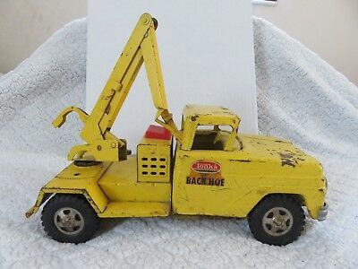 Vintage Tonka Back Hoe Construction Truck Yellow Pressed Steel 1960's