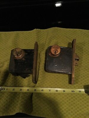 "(2) Vintage Yale Mortise Door Locks All Tested one has key 4""x4"""
