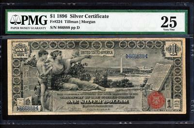 "Fr.224 1896 $1 NEAT SERIAL 866888 ""EDUCATIONAL"" SILVER CERT. PMG VF 25 VERY RARE"