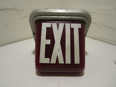Vintage Lighted Exit Sign Triangular Glass Globe Metal Base Art Deco Theater
