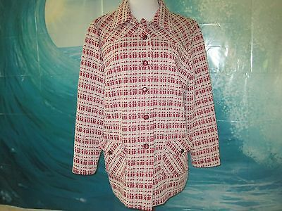 Vintage Boho hand made Jacket Coat Red White Polyester button up Large Excellent