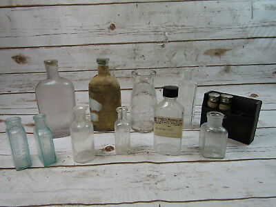 Lot of 12 Antique Pharmacy Apothecary Empty Bottles Various Sizes Colors