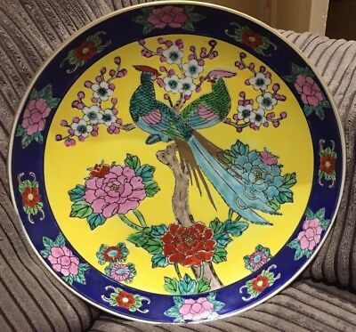 Vintage Imari Plate, Hand Painted Peacocks & Flowers Unique Japanese Charger