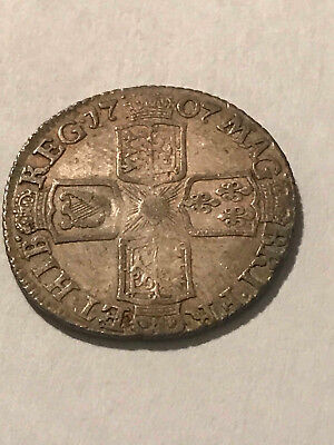 1707 Queen Anne 6 pence, natural gray patina,
