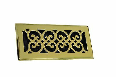 Decor Grates Steel Floor Register Scroll Brass Gold  Sizes 2x12 4x10 4x12  4x14