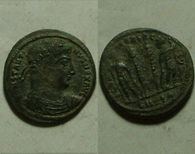 Constantine Rare ancient Roman coin Arles 330AD Legion soldiers spears standards